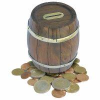 Coin box in barrel shape