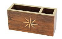 Penholder/memo box with windrose inlay