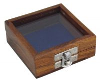 Wooden box with glass lid & nickel plated latch