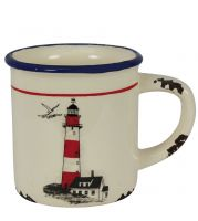 Cup with handle with lighthouse design
