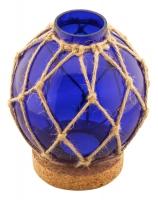 Fishermen's glass ball in net with tealight & cork base