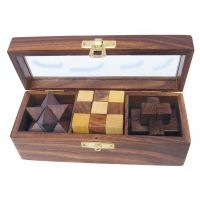 3 wooden puzzle games